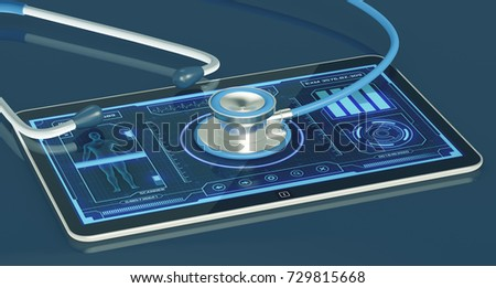 futuristic app interface for medical and scientific purpose, with a stethoscope (3d render)