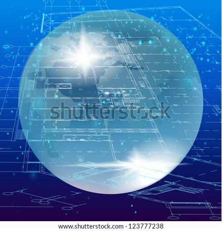 Futuristic architectural background. Part of architectural project - Raster version. - stock photo