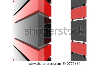 Futuristic architecture background. Minimal exterior of the future. Geometric construction. Modern design. Desktop wallpaper. Abstract structure. 3D rendering and illustration.