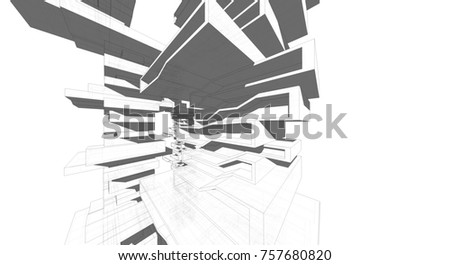 futuristic architecture 3d illustration