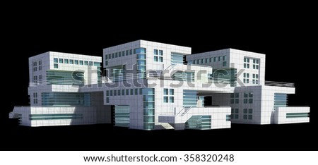 Futuristic architecture of modern apartment building or house with the isolation work path included in the jpg file  - stock photo