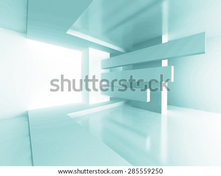Futuristic Architecture Room Interior Design Background. 3d Render Illustration - stock photo