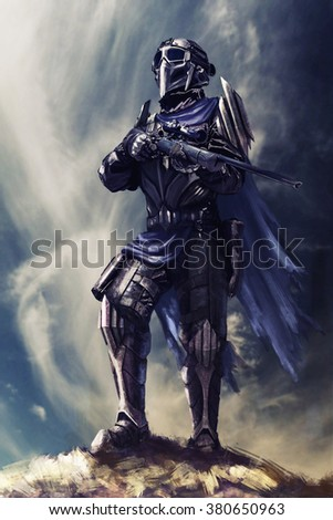 Futuristic armored warrior