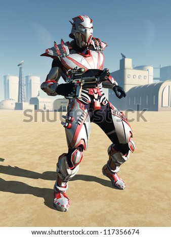 Futuristic armoured militia soldier guarding a science fiction desert town, 3d digitally rendered illustration - stock photo