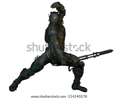 Futuristic armoured warrior knight with power sword, 3d digitally rendered illustration - stock photo