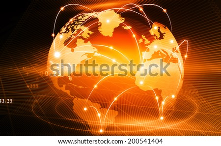 Futuristic background of Global business network; internet; Globalization; concept;  - stock photo
