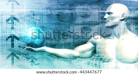 Futuristic Background with Businessman and Globe in Hands 3D Illustration Render