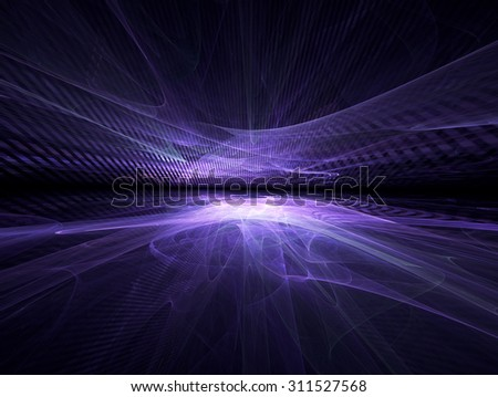 futuristic background with fractal horizon - stock photo