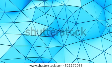 Futuristic background with lines and abstract low-poly, polygonal triangular mosaic background for web, presentations and prints. Grunge surface. 3d Rendering. Realistic 3D design template.
