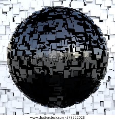 Futuristic black metallic sphere - stock photo