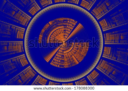 Futuristic blue and orange tech disc fractal flame background.