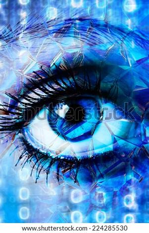 futuristic blue eye - stock photo