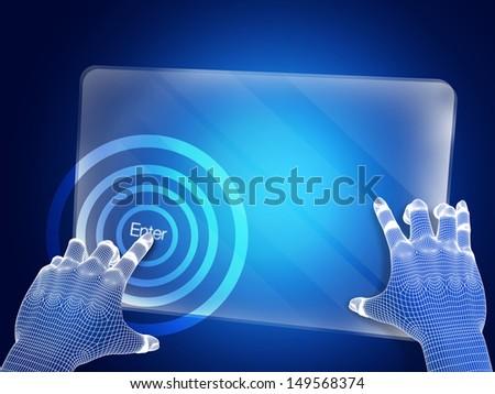 Futuristic blue figure touching screen - stock photo