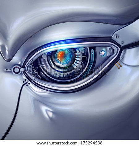 futuristic bright cyber eye with computer digits shining