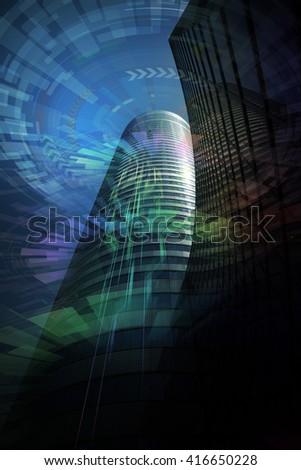 futuristic building, abstract image visual - stock photo