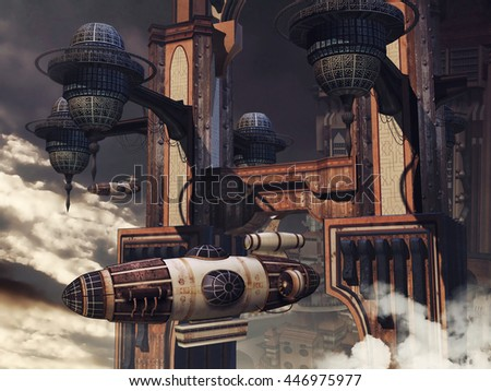 Futuristic building with a flying zeppelin in the clouds. 3D illustration.