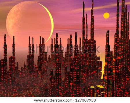 Futuristic buildings in a fantasy city and strange planets - stock photo