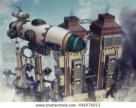 Futuristic buildings in the clouds and a colorful flying machine. 3D illustration.