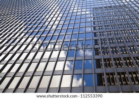 Futuristic Business Building in City Financial District - stock photo