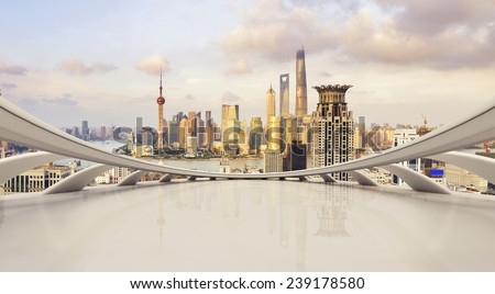 futuristic business perspective and cityscape during daytime - stock photo