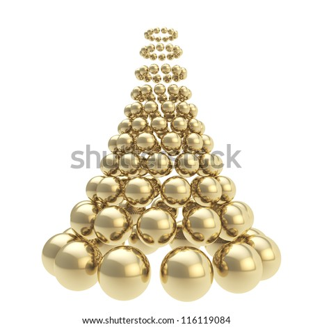 Futuristic christmas tree made of glossy spheres composition isolated on white background - stock photo