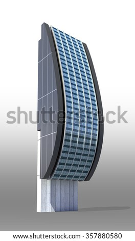 Futuristic city architecture of high rise with the isolation work path included in the jpg file, for science fiction or fantasy backgrounds - stock photo