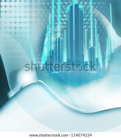 futuristic city background - stock photo