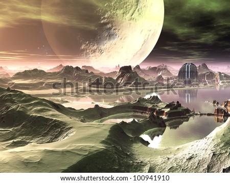 Futuristic City by Lake on Alien World - stock photo