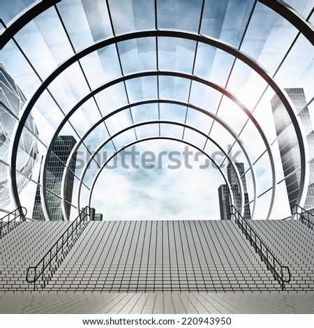 Futuristic city. Modern building - stock photo