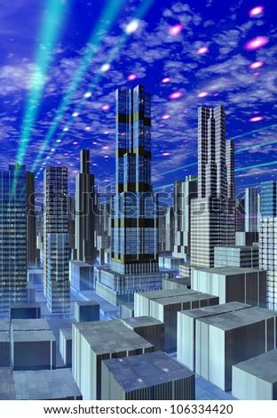 Futuristic City Skyline - stock photo