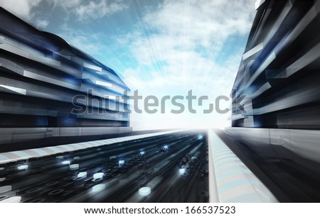 futuristic city street in information age wallpaper illustration