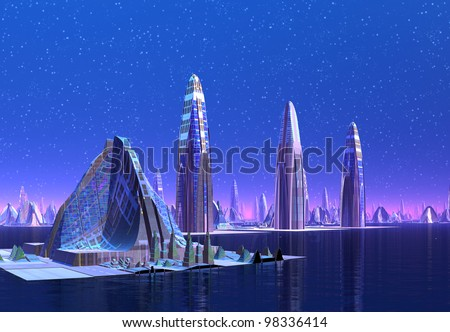 Futuristic Cityscape, fantasy city on an alien planet