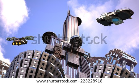 Futuristic cityscape in an upper perspective angle with architectural structures and drones flying against a blue sky, for fantasy or science fiction backgrounds - stock photo