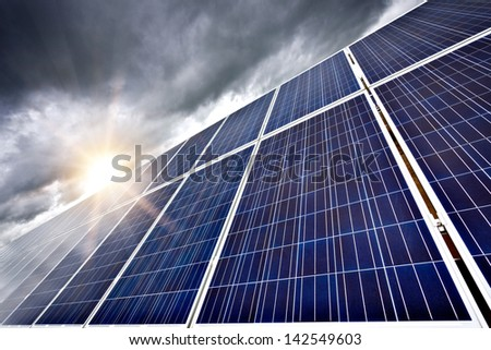 Futuristic concept of solar panels as a future electrical power generators dominance on our planet to produce electricity overcoming current ecological problems like global warming.
