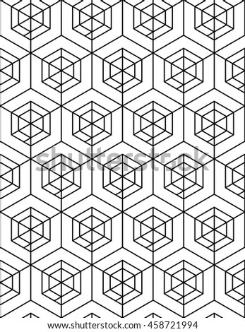 Futuristic continuous black and white pattern, illusive motif abstract background with geometric figures. Monochrome decorative seamless backdrop, can be used for design and textile.