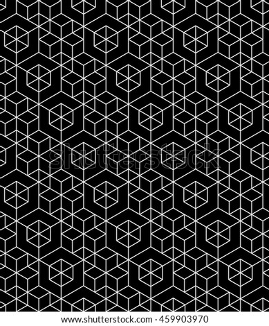 Futuristic continuous black pattern, illusive motif abstract background with geometric figures. Monochrome decorative seamless backdrop, can be used for design and textile.
