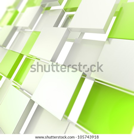 Futuristic copyspace background made of green chaotic cubic plates - stock photo