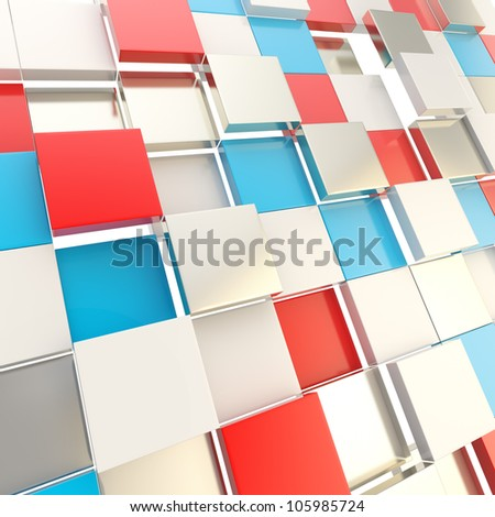 Futuristic copyspace background made of red and blue chaotic cubic plates - stock photo