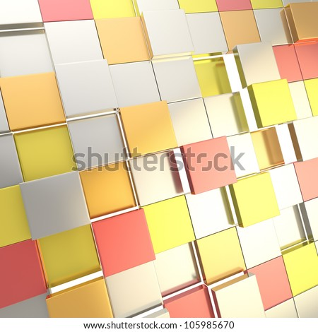 Futuristic cube background wallpaper made of shiny red and orange blocks