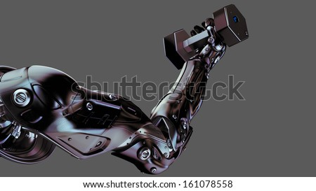 Futuristic cyber hand lifting fitness dumbbell / Strong muscular robotic arm - stock photo