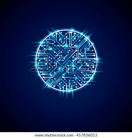 Futuristic cybernetic scheme, motherboard blue illustration with neon lights. Circular gleam element with circuit board texture.