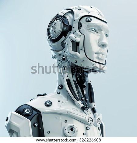 Futuristic cyborg in profile. Side render of stylish robotic man / Futuristic cyborg in profile - stock photo