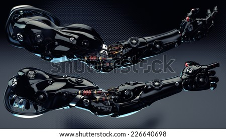 Futuristic cyborg prosthetic arms with strong muscular structure - stock photo