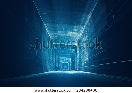 Futuristic 3D data tunnel - stock photo