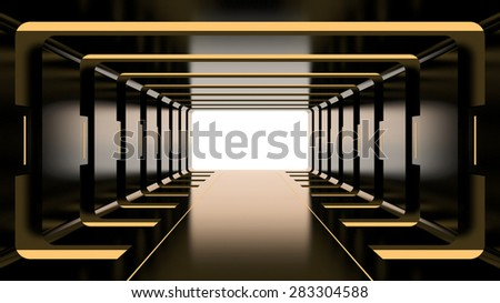Futuristic dark tunnel with yellow lights - stock photo