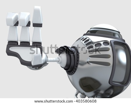 Futuristic design concept. A Robot with robotic mechanical arm. 3D illustration. - stock photo