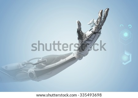 Futuristic design concept. A robotic mechanical arm looks like a human hand. Showing number two with fingers. Counting down sign gesture. Virtual HUD infographic icons. - stock photo