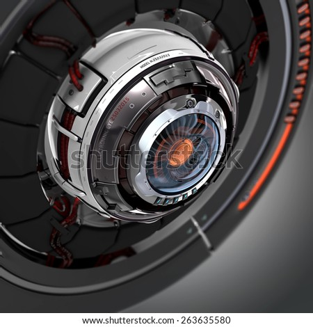 Futuristic design. Conceptual electronic cyber eye. Mechanical artificial robot detail closeup. - stock photo