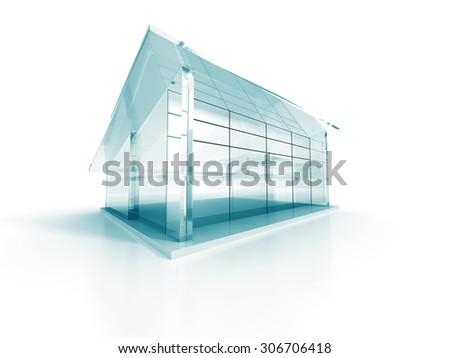 Futuristic Design Glass Shiny Blue Building. 3d Render Illustration - stock photo