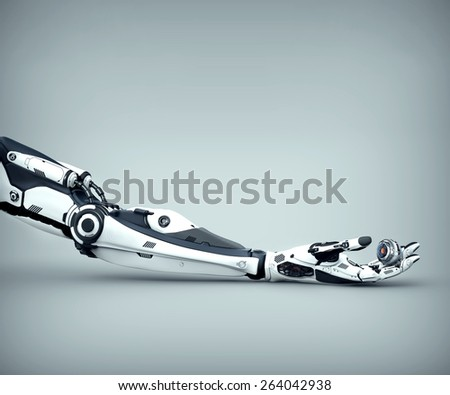 Futuristic design of Robot Arm  Mechanical fingers holding electronic eye. - stock photo